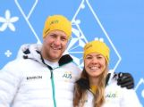 (L-R) Australian cross country skiers Phillip Bellingham and Esther Bottomley poses wearing the opening ceremony uniform during the Australian Olympic Team Uniform launch ahead of the Sochi 2014 Winter Olympics.
