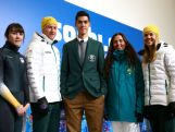 (L-R) Australian athletes, Deanna Lockett, Phil Bellingham, Pierre Boda, Hannah Trigger and Esther Bottomley pose after the Australian Olympic Team Uniform launch ahead of the Sochi 2014 Winter Olympics.