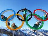 (L-R) John Farrow, Lucy Chaffer, Hannah Trigger, Michelle Steele, and Dave Morris pose in the Olympic Rings in the Athletes Village ahead of the Sochi 2014 Winter Olympics at Rosa Khutor on February 6, 2014 in Sochi, Russia.