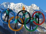 Australian Athletes (L-R) John Farrow, Lucy Chaffer, Hannah Trigger, Michelle Steele, and Dave Morris pose in the Olympic Rings in the Athletes Village ahead of the Sochi 2014 Winter Olympics.