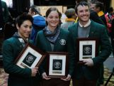 Lydia Lassila, Sam Wells and David Morris attend the ceremony to announce the Flag Bearer for Australia