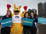 (L-R) Australian Women's Rugby Sevens players Sharni Williams, Emilee Cherry and Shannon Parry pose following a press conference with 500 days to go until the 2016 Olympic Games at AOC HQ on March 24, 2015 in Sydney, Australia.