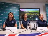 (L-R) Australian Women's Rugby Sevens players Sharni Williams, Emilee Cherry and Shannon Parry speak during a press conference with 500 days to go until the 2016 Olympic Games, at the AOC offices on March 24, 2015 in Sydney, Australia.