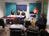 Kitty Chiller speaks during a press conference with 500 days to go until the 2016 Olympic Games, accompanied by three rugby sevens players, on March 24, 2015 in Sydney, Australia.