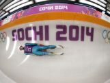 Alexander Ferlazzo of Australia in action during a Men's Singles Luge training session ahead of the Sochi 2014 Winter Olympics at the Sanki Sliding Center on February 6, 2014 in Sochi, Russia.at  on February 7, 2014 in Sochi, .