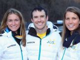 Emily Bamford, Lavinia Chrystal and David Morris of Australia pose for a photo before they head to the opening ceremony ahead of the Sochi 2014 Winter Olympics at Rosa Khutor on February 7, 2014 in Sochi, Russia.