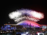 A general view of fireworks over Fisht Olympic Stadium during the Opening Ceremony of the Sochi 2014 Winter Olympics.