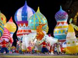 Dancers perform with inflated objects during the Opening Ceremony of the Sochi 2014 Winter Olympics.