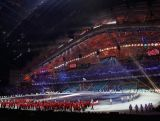 The Canadian team walk in during the Opening Ceremony of the Sochi 2014 Winter Olympics at Fisht Olympic Stadium on February 7, 2014.