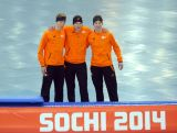 SOCHI, RUSSIA - FEBRUARY 08:  (L-R) Bronze medalist Jorrit Bergsma of the Netherlands, gold medalist Sven Kramer of the Netherlands and silver medalist Jan Blokhuijsen of the Netherlands on the podium during the flower ceremony for the Men's 5000m Speed Skating during day 1 of the Sochi 2014 Winter Olympics at Adler Arena Skating Center on February 8, 2014 in Sochi, Russia.