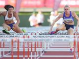 Michelle Jenneke and Sally Pearson compete in the 100m Hurdles final during the Australian Athletics Championships at the Queensland Sports and Athletics Centre on March 29, 2015 in Brisbane, Australia. Pearson was first and Jenneke second.