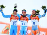 (L-R) Silver medalist Christof Innerhofer of Italy, gold medalist Matthias Mayer of Austria and bronze medalist Kjetil Jansrud of Norway on the podium during the flower ceremony for the Skiing Men's Downhill at Rosa Khutor Alpine Center on February 9, 2014.