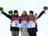 (L-R) Silver medalist Enni Rukajarvi of Finland, gold medalist Jamie Anderson of the United States and bronze medalist Jenny Jones of Great Britain pose on the podium during the flower ceremony for the Women's Snowboard Slopestyle Finals during day two of the Sochi 2014 Winter Olympics at Rosa Khutor Extreme Park.
