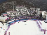 General view of the Rosa Style course after the Women's Snowboard Slopestyle Finals during day two of the Sochi 2014 Winter Olympics at Rosa Khutor Extreme Park.
