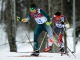 Callum Watson of Australia competes in the Men's Skiathlon 15 km Classic + 15 km Free during day two of the Sochi 2014 Winter Olympics at Laura Cross-country Ski & Biathlon Centre.