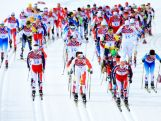 (L-R) Sjur Roethe of Norway, Alex Harvey of Canada and Martin Johnsrud Sundby of Norway lead the pack in the Men's Skiathlon 15 km Classic + 15 km Free during day two of the Sochi 2014 Winter Olympics at Laura Cross-country Ski & Biathlon Centre.