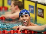 Grant Hackett smiles after finishing the Men's 400m Freestyle Final during day one of the Australian National Swimming Championships on April 3, 2015.
