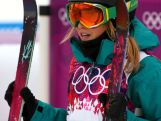 Anna Segal waits for her score in the Freestyle Skiing Women's Ski Slopestyle Finals on day four of the Sochi 2014 Winter Olympics at Rosa Khutor Extreme Park.