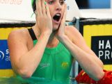 Gold medallist, Taylor McKeown of Qld celebrates following the Women's 100m Breaststroke Final during the day three of the Australian National Swimming Championships on April 5, 2015 in Sydney, Australia.