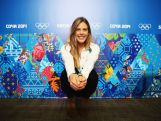 Torah Bright poses during a press conference at Gorki Press Centre Centre on day six of the Sochi 2014 Winter Olympics.