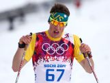 Callum Watson reacts after competing in the Men's 15 km Classic during day seven of the Sochi 2014 Winter Olympics at Laura Cross-country Ski & Biathlon Centre.