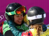 Belle Brockhoff (R) and Torah Bright of Australia jubilate after the Ladies' Snowboard Cross Quarterfinals on day nine of the Sochi 2014 Winter Olympics.