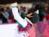David Morris of Australia celebrates in the Freestyle Skiing Men's Aerials Qualification on day ten of the 2014 Winter Olympics.