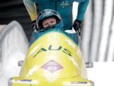 Pilot Heath Spence and Duncan Harvey of Australia team 1 finish a run during the Men's Two-Man Bobsleigh on Day 10 of the Sochi 2014 Winter Olympics.