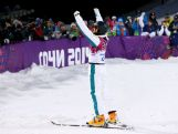 David Morris celebrates after his final run in the Freestyle Skiing Men's Aerials Finals on day ten of the 2014 Winter Olympics.