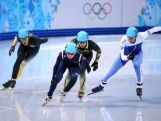 (L to R) Pierre Boda, Se Yeong Park of Korea,  Satoshi Sakashita of Japan, Vladislav Bykanov of Israel compete in the Short Track Men's 500m Heat at Iceberg Skating Palace.