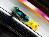 Astrid Radjenovic and Jana Pittman of Australia team 1 make a run during the Women's Bobsleigh heats on day 11 of the Sochi 2014 Winter Olympics.
