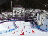 A general view during the flower ceremony for the Snowboard Ladies' Parallel Giant Slalom Finals on day twelve of the 2014 Winter Olympics.