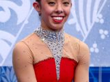 Brooklee Han waits for her score in the Figure Skating Ladies' Free Skating on day 13 of the Sochi 2014 Winter Olympics.