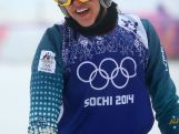 Katya Cremalooks on in the Freestyle Skiing Womens' Ski Cross Quarterfinals on day 14 of the 2014 Winter Olympics.