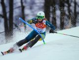 Greta Small in action during the Women's Slalom during day 14 of the Sochi 2014 Winter Olympics.