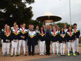 IOC President Thomas Bach poses with Australian Fencing squad members at ANZ Stadium on April 29, 2015 in Sydney, Australia.