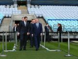IOC President Thomas Bach walks onto the ground at ANZ Stadium on April 29, 2015 in Sydney, Australia.