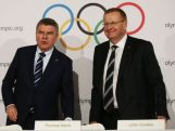 IOC President Thomas Bach (L) and AOC President John Coates (R) arrive at a press conference at the Museum of Contemporary Art on April 29, 2015 in Sydney, Australia.