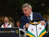 IOC President Thomas Bach is presented with an Australian Fencing jacket at ANZ Stadium on April 29, 2015 in Sydney, Australia.