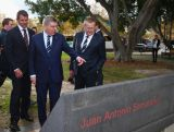 NSW Premier Mike Baird, IOC President Thomas Bach and IOC Vice President John Coates view a tribute to former IOC President Juan Antonio Samaranch at Sydney Olympic Park on April 29, 2015 in Sydney, Australia.