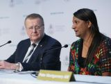 Senator Nova Peris speaks during the Australian Olympic Committee Annual General Meeting at Museum of Contemporary Art on May 9, 2015 in Sydney, Australia.