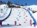A general view in the Snowboard Parallel Slalom Qualification on day 15 of the 2014 Winter Olympics.