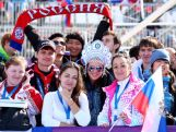 Russia fans watch the Snowboard Men's and Ladies' Parallel Slalom 1/8 Finals on day 15 of the 2014 Winter Olympics.