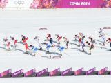 Athletes compete during the Women's 30 km Mass Start Free during day 15 of the Sochi 2014 Winter Olympics.