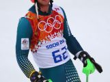 Ross Peraudo after crashing out in the first run during the Men's Slalom during day 15 of the Sochi 2014 Winter Olympics.