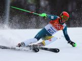 Ross Peraudo in action during the Men's Slalom during day 15 of the Sochi 2014 Winter Olympics.
