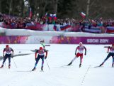 Maxim Vylegzhanin of Russia, Alexander Legkov of Russia, Martin Johnsrud Sundby of Norway and Ilia Chernousov of Russia approach the finish in the Men's 50 km Mass Start Free during day 16 of the Sochi 2014 Winter Olympics.