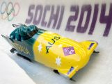 Pilot Heath Spence, Gareth Nichols, Duncan Harvey and Lucas Mata of Australia team 1 make a run during the Men's Four-Man Bobsleigh on Day 16 of the Sochi 2014 Winter Olympics.