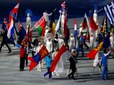 The flags of the competiting nations enter the arena during the 2014 Sochi Winter Olympics Closing Ceremony at Fisht Olympic Stadium on February 23, 2014 in Sochi, Russia.
