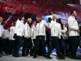 Australian athletes enter during the 2014 Sochi Winter Olympics Closing Ceremony at Fisht Olympic Stadium on February 23, 2014 in Sochi, Russia.